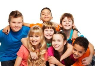 Happy Kids Together Hugging